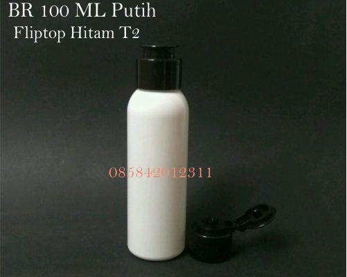 Botol BR 100 ML Putih Fliptop Hitam T2