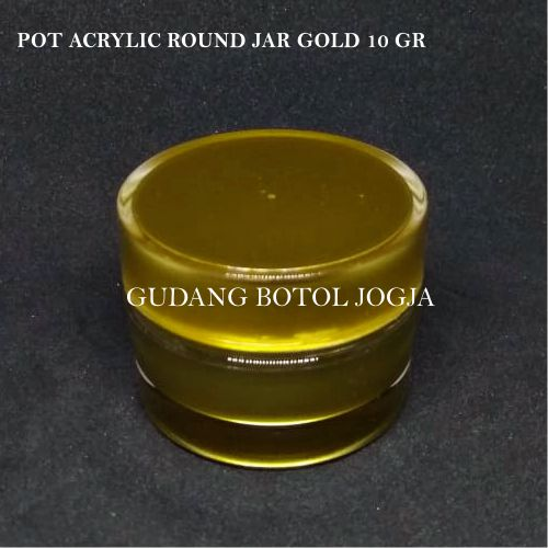 POT ACRYLIC ROUND JAR GOLD 10 GR