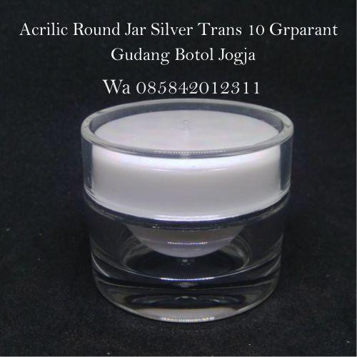 Acrilic Round Jar Silver Trans 10 Grparant